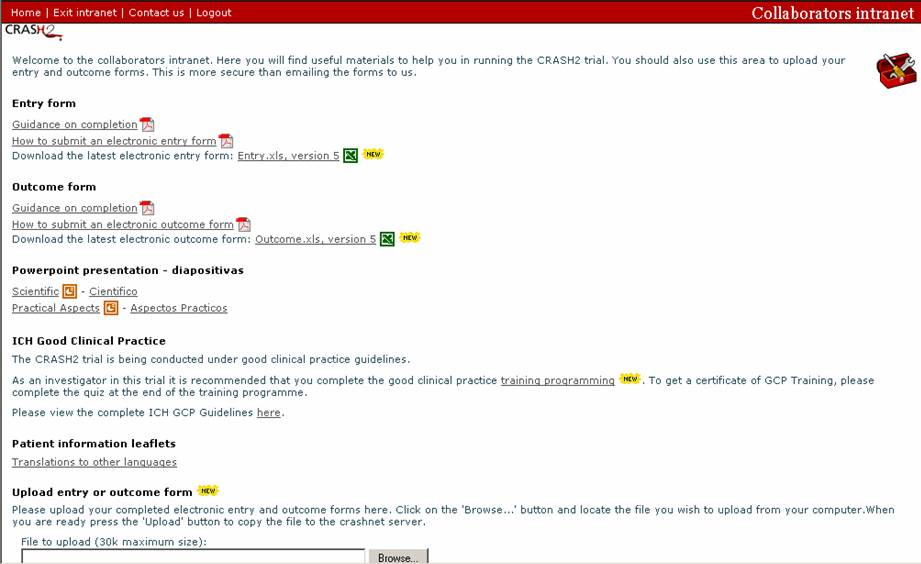 Intranet homepage